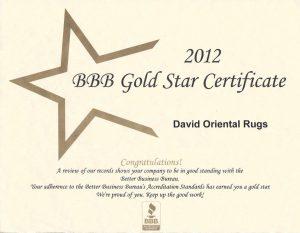 David Oriental Rugs BBB Award 2012